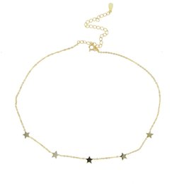$enCountryForm.capitalKeyWord NZ - 2018 New Maxi Necklace 925 Sterling silver Sequins star Necklace & Pendants Jewelry For women Wedding Glitter plain Chokers