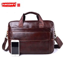 Wholesale Men s Travel brown leather Men briefcase Genuine Leather Cowhide laptop bag Handbags Cowhide Men Crossbody Messenger Bags