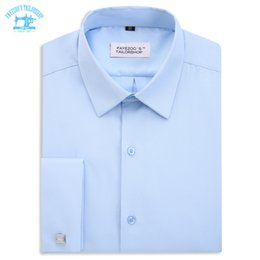 Double Shirt Designs Australia - New Design! No Thread! Fayezoo's Slim Fit Light Blue Sartorial French Double Cuff Formal Business Dress Shirt