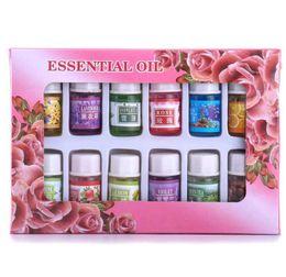 Oil Cosmetics NZ - Drop Ship 12pcs set Skin Care Beauty Makeups 100% Pure Essential Oils Variety Fragrance Spa Bath Massage Essential oil 3ML Cosmetic