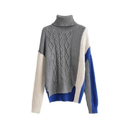 ccd3969106f Autumn Women Patchwork Knitted Sweater Casual Turtleneck Long Sleeve Sweater  Pullovers Warm Irregular Twist Loose Jumpers