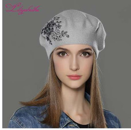 511d9406cfb94 LILIYABAIHE New Women Winter Hat wool Knitted Berets Cap with flower Sequins  diamond decoration solid colors fashion lady hat