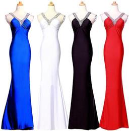 71b97434d5d Mode Rouge Noir Bleu Sirène Robes De Bal Pas Cher 2018 Paillettes Perlées  Ruché Criss Croix Retour Longue Robes De Soirée Sexy Robes De Fête USA