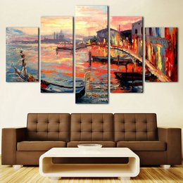$enCountryForm.capitalKeyWord NZ - Wall Art Poster Canvas Home Decor Modern 5 Panel Colorful Ship Building Living Room HD Print Painting Modular Pictures Frame