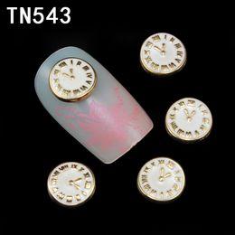 golden 3d nail art 2019 - 10Pcs Golden 3D Nail Tools Clock Rhinestone For Nails Alloy Nail Art Decorations Glitters DIY TN543 cheap golden 3d nail