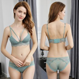 Wholesale black lingerie brand resale online - Sexy Underwear Set Cotton Push up Bra and Panty Sets Cup Brand Green Lace Lingerie Set Women Deep V Brassiere Black Dentelle