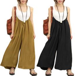 46ef26b07735 Fashion Women Overalls Rompers Strap Dungaree Cotton Linen Playsuit Long Pants  Jumpsuits Wide Leg Trousers Plus Size