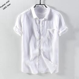 $enCountryForm.capitalKeyWord Canada - High quality 100% Linen Summer New mens short sleeve shirts casual mens lapel linen shirts fashion loose