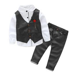d08ae416b107a Boys Formal Clothing Sets 2018 Autumn Shirt+Waistcoat+Pants 3 Pieces Baby  Boys Wedding Clothes Kids Boy Gentleman Leisure Suit Y1893005