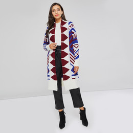White Elegant Cardigans NZ - Women Knitted Sweater Geometric Print Fashion Autumn Long Cardigan Outerwear Female Elegant Winter Street Casual Chic Knitwear