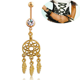 Wholesale 2018 Dangle belly ring Stainless Steel Dream navel ring Catcher Belly Button Ring navel piercing jewelry