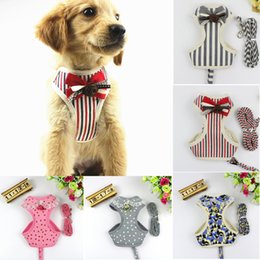 188ae8a5ca6d Pet Stripe Lace Harness Dot Vest Leash With Bell Bow Tie Mesh Leashes Set  Cat Soft Puppy Strap Collar Breath 5 Colors AAA714