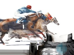 Cartoon Designs Wall Photos Australia - YBZ024 Customized Any Size 3D Effect Horse Racing Creative Wall Mural Wallpaper For Living Room Photo Wallpaper Wall Papers Home Decor
