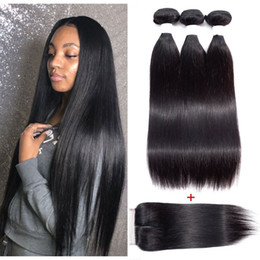$enCountryForm.capitalKeyWord Australia - Malaysian Straight Hair Bundles with Closure Unprocessed Virgin Human Hair Weave Bundles With 4X4 Lace Closure Natural Color Hair Extensions