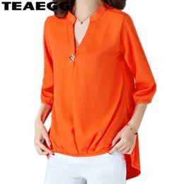 TEAEGG Blusa de Gasa Naranja Camisas Mujer 2018 Manga Larga de Primavera Verano Blusas y Blusas para Mujer Laides Plus tops AL961 en venta