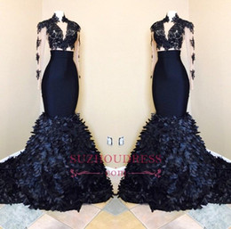 Vintage T Straps Canada - Black High Neck Vintage Prom Dresses 2018 Lace Tulle Sheer Long Sleeves Ruffled Skirts Evening Gowns Formal Party Special Occasion Wear