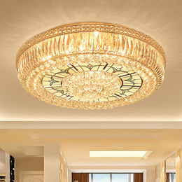Round fluoRescent lights online shopping - Modern LED ceiling chandeliers luxury noble royal round crystal chandelier lights for hotel villa living room bedroom ceiling chandeliers