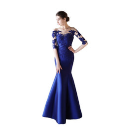 dropped neck evening dresses UK - Half Sleeves Satin Mermaid Evening Dresses with Lace Appliques 2019 Sheer Neck Long Evening Gowns Button Back Prom Dresses Royal Blue