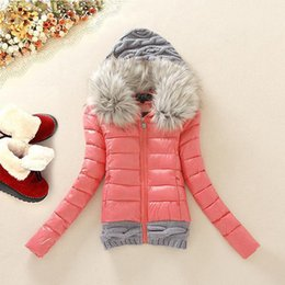 Plus Size Winter Parka Canada - 2017 Winter Jackets Women Parka Outerwear Knitted Hat Female Parkas With Fake Fur Collar Thick Women Winter Coat Plus Size 3XL