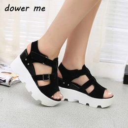 Thick Sole Sandals Canada - Dower me Roman style Wedges Sandals Casual Open Toe Summer Shoes Fashion Buckle Platform Thick Soled Shoes