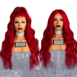 Long hair sexy women online shopping - Sexy Cosplay Long Red Body Wave Wig Glueless Synthetic Lace Front Wigs With Baby Hair Density Heat Resistant Fiber Wigs For Women