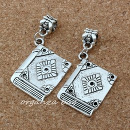 Fit books online shopping - MIC Dangle Ancient silver Alloy Single sided book Charm Big Hole Beads Fit European Charm Bracelet Jewelry x38 mm