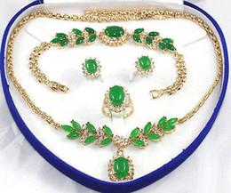Jade Wedding Sets Australia - Green Jade Golden Link Crystal Pendant Necklace Bracelet Earrings Ring Set