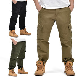 cotton overalls for men UK - Outdoor Men's Military Style Overalls Cotton Trousers Multi-pocket Straight Large Long Pants Casual for Men All Season