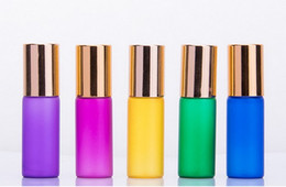 Discount frosted roll bottles wholesale - 200pcs Colorful 5ml Frosting ROLL ON GLASS ESSENTIAL OIL BOTTLE Perfume stainless steel Roller ball fragrance bottle 200