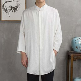 standing collar shirt style Australia - MRDONOO Chinese style linen long gown men plate buckle stand collar sleeved shirt jacquard retro cotton and linen Tang suits
