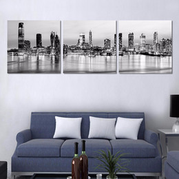 $enCountryForm.capitalKeyWord Australia - 3 Pcs Black New York City Night Picture HD Printed Canvas Prints Painting Wall Pictures For Living Room Wall Art No Frame