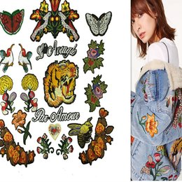 sew patch letters NZ - 1 set of embroidered patches sew-on include 19 pieces different items appliques birds tigers flower letter DIY zakka patchwork accessories