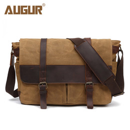 ef58734d2968 AUGUR New Men Shoulder Bag Wax Canvas Waterproof Crossbody Bags For Men  High Quality Business Messenger Bag Retro Satchel Man