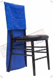 $enCountryForm.capitalKeyWord Australia - Free shipping Nice Sequin chiavari chair covers Glitz Banquet chair covers Royal blue Slub chair caps Events decorations