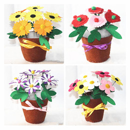 children kits NZ - Creative DIY Decorative Flower Free-growing Thread Sewing Potted Plants Thanksgiving Teachers' Day Gift Children Handmade Toy Flower Kits
