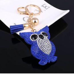 $enCountryForm.capitalKeyWord NZ - MINHIN Cute Owl Pendant Leather Key Chain Car Key Ring Holder Gold Bag Keychain Gift For Girls 6 Colors Rhinestone Key Chains