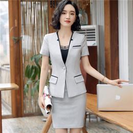 e597e91ac12a Business formal women skirt suit summer fashion elegant short sleeve blazer  and skirt office Interview plus size Work wear blazer+skirt suit