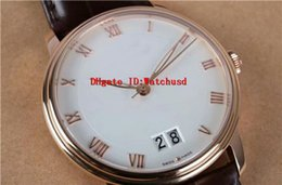 Luxury Display Cases Canada - New Luxury VILLERET 6950 Automatic Movement Sapphire Crystal Rose Gold Case White Date Display Roman numerals Dial Leather Strap Men Watch