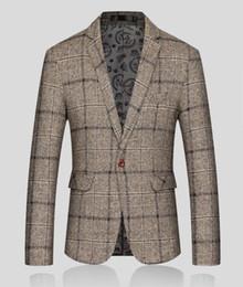 Korean blacK coat design online shopping - 2018 Fashion Mens Blazer Jacket Men Plaid Woolen Cloth Slim Fit Suit Coat Male Korean Design Casual Fitted Blazer Jackets Man