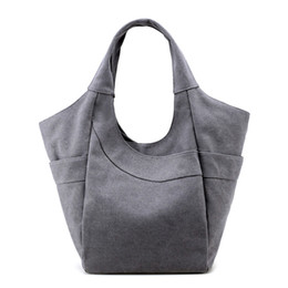 $enCountryForm.capitalKeyWord NZ - Versatile Eco Friendly Canvas Plain Large Shoulder Bag Daily Use Shopping Tote Bag With Zipper Closure