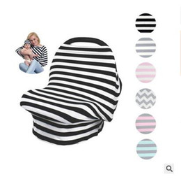 Discount wholesale nursing hats - Hat Set Baby Car Seat Canopy Cover Boys Girls INS Stroller Nursing Cover Stripe Multi-Use Stretchy Newborn Breastfeed Sh