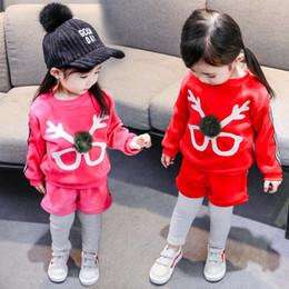 VelVet suit baby online shopping - Baby girls deer outfits children Glasses Christmas reindeer print top pants set Autumn Velvet suit kids Clothing Sets C5479