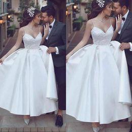 Wedding Dress Sleeveless Lace Top NZ - 2018 Elegant Spaghetti Arabic Wedding Dresses Lace Top Satin Formal Bridal Dresses Sleeveless Ankle Length Wedding Party Gowns Cheap