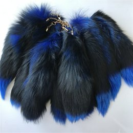 "Chinese  10pcs 16""-Blue 100% Real Genuine Fox Fur Tail Cosplay Toy Keychain keyring Handbag Accessory manufacturers"