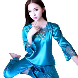 f6fea310ec Silk Pajamas For Women Satin Pajama Sets Lace Embroidered Long Sleeve Tops+ Pants Two-Pieces Sleepwear Nightwear Pyjama Femme XXL