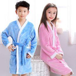 5-12 Years Children s Bath Towel For Boys Girls Winter Warm Flannel Bathrobe  Blue Pink Soft Terry Kids Bathing Robe Bath Towels b4dfa37be