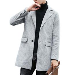 Discount asian winter coats - Kewlstyle Men's coat winter jacket long sleeve single breasted mens peacoat wool Asian size windbreaker abrigo homb