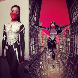 $enCountryForm.capitalKeyWord Australia - Silk Spider morph suit Silk Cindy Moon Spider Costume Female Woman Girl Spiderman Cosplay Halloween Costume