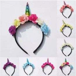 194200056c1 INS Cute Toddler Baby Magical Unicorn Horn Head Party Headband Dress Cosplay  Decorative Headwear 7colors choose free ship B11
