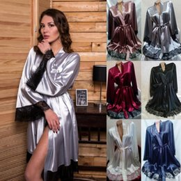 Lace Sexy Women Bathrobe Satin Lady Nightgown Silk Soft Long Lingerie Night  Robe Babydoll Dress Sleepwear 4af203797